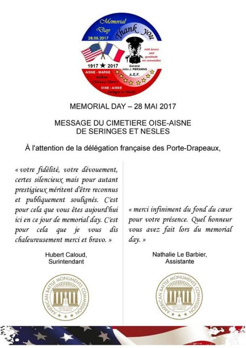28 05 2017 MEMORIAL DAY SERINGES ET NESLES