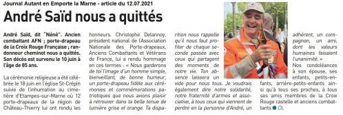 Hommage au porte drapeau André SAÏD, membre de l'APAC