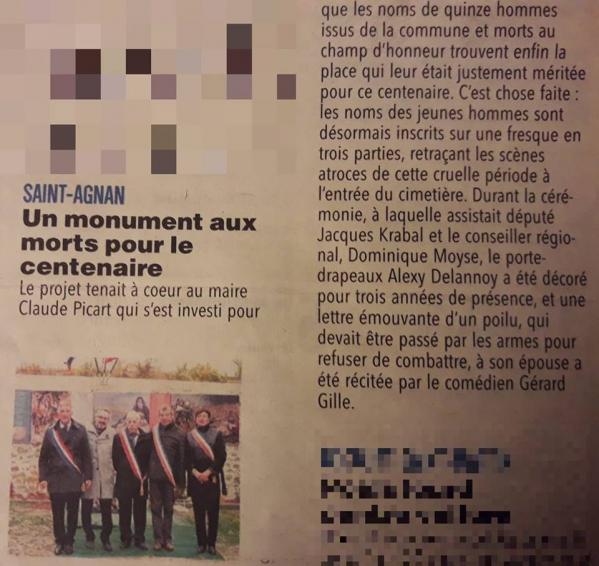 13.12.2018 Inauguration monument aux morts de St Agnan