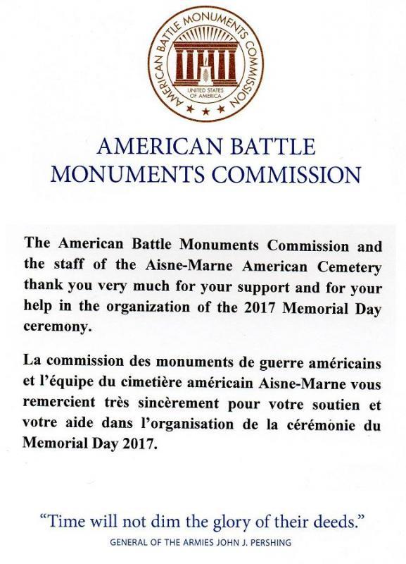 Remerciements Cimetière Aisne-Marne