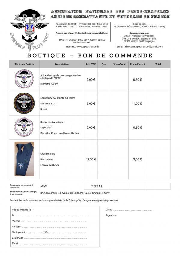 Boutique APAC - Bon de commande