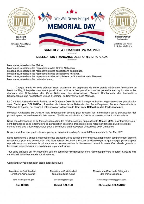 Courrier annonce memorial day 2020