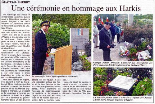 09.2015 : Cérémonie en hommage aux Harkis - Château-Thierry (02)