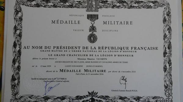 Maurice TATARYN - Diplôme Médaille Militaire