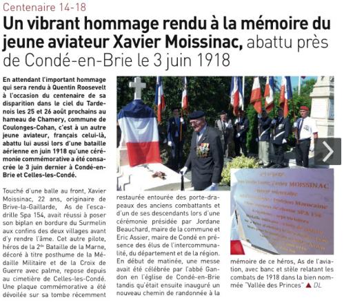 03.06.2018 : hommage au pilote MOISSINAC - Celles les Condé